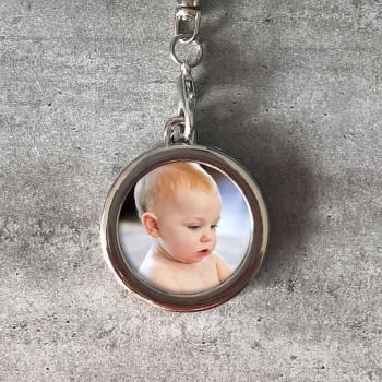 Porte-clés Photo personnalisé Prénom modèle Rond
