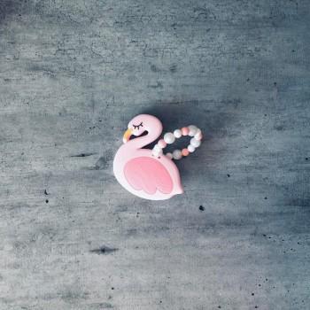 Anneau de dentition en bois forme flamant rose