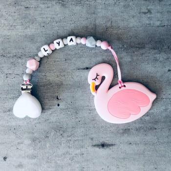 Attache dentition personnalisée Flamant rose