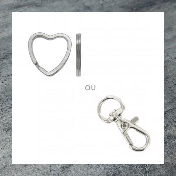 Porte-clés personnalisé anneau coeur mousqueton pivotant