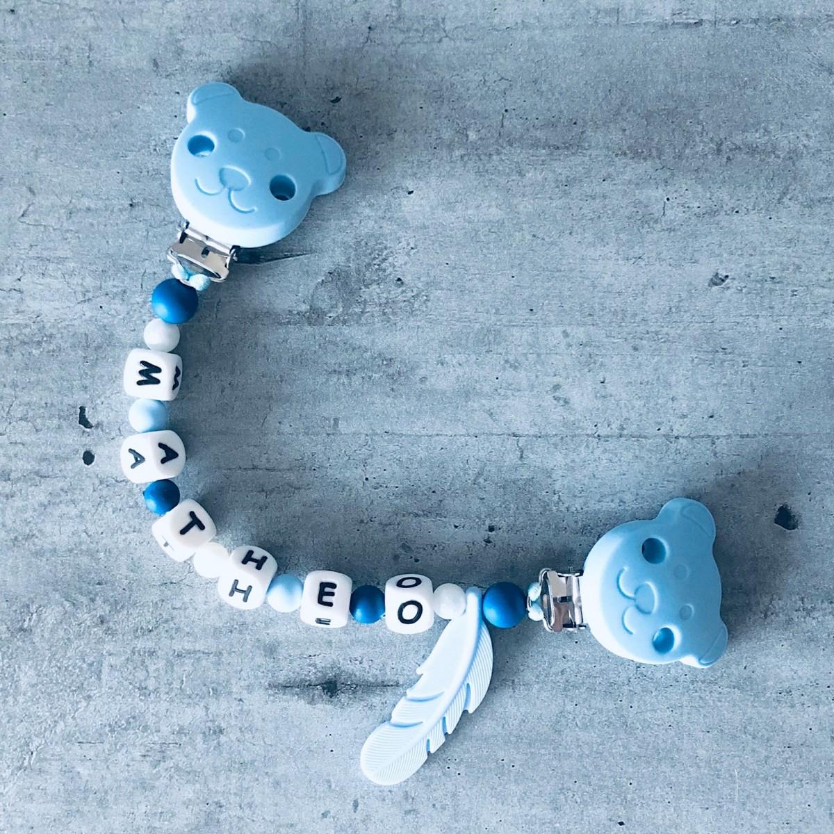 Attache doudou personnalisé prénom perles silicone alimentaire