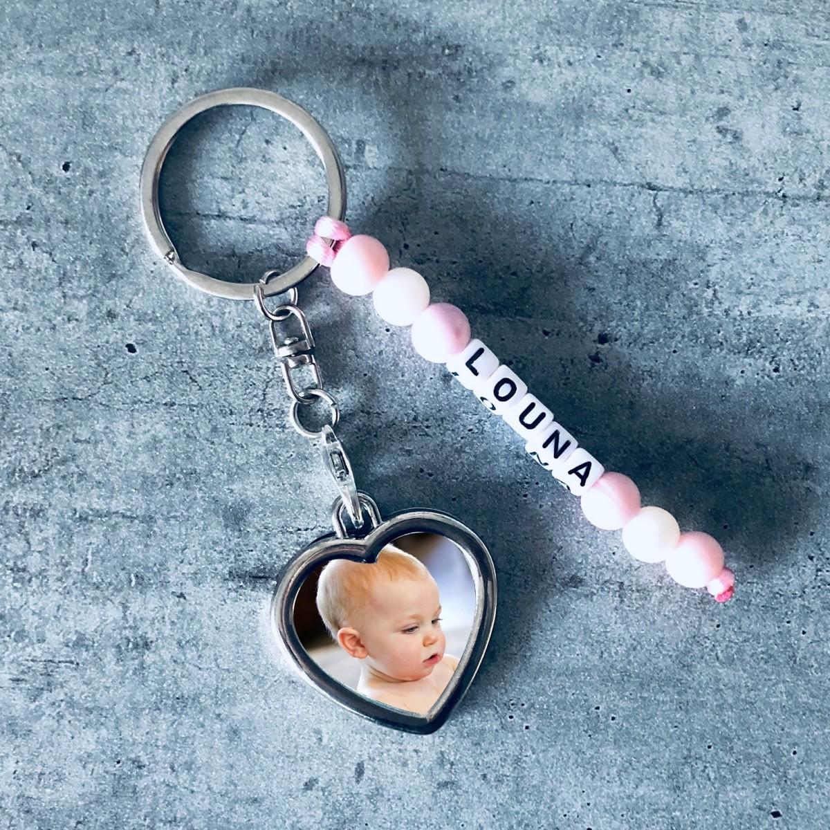 Porte-clé personnalisé avec prénom et photo perles silicone alimentaire